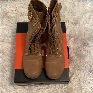 GUESS tan leather combat bootie